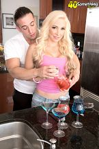 Natalia bartends for tips and the complete shaft