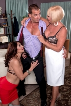 Two HORNY HOUSEWIVES, one job, one cock